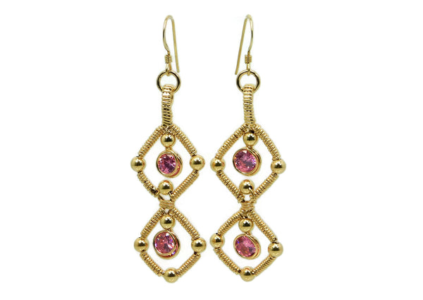 14kt Gold Fill Double Gem Earrings