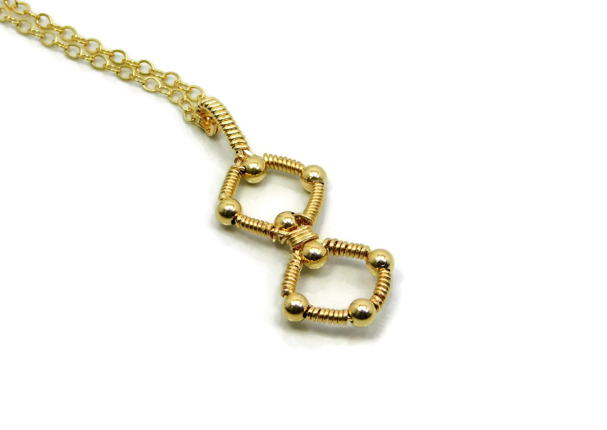 14kt Gold Fill Double Profile Pendant