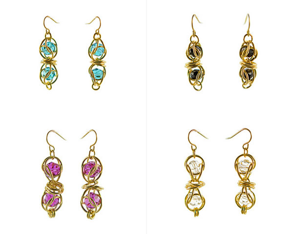 14kt gold fill captured swarovski crystal chainmaille earrings