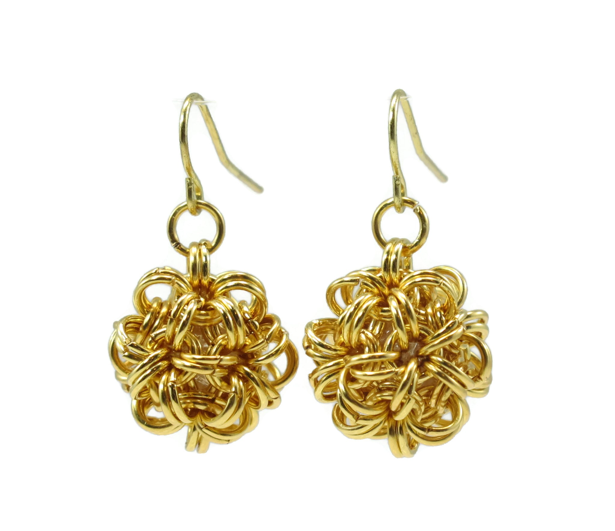 14kt gold fill chainmaille dodecahedron earrings geometric earrings chainmail jewelry chainmaille dodecahedron jewelry geometric earrings