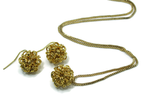 14kt gold fill chainmaille dodecahedron necklace and earrings set