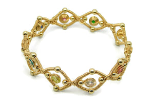 14kt Gold Fill Multi Gem Bangle Bracelet