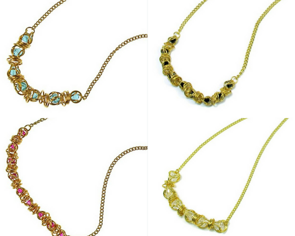 14kt gold fill captured swarovski crystal chainmaille necklaces