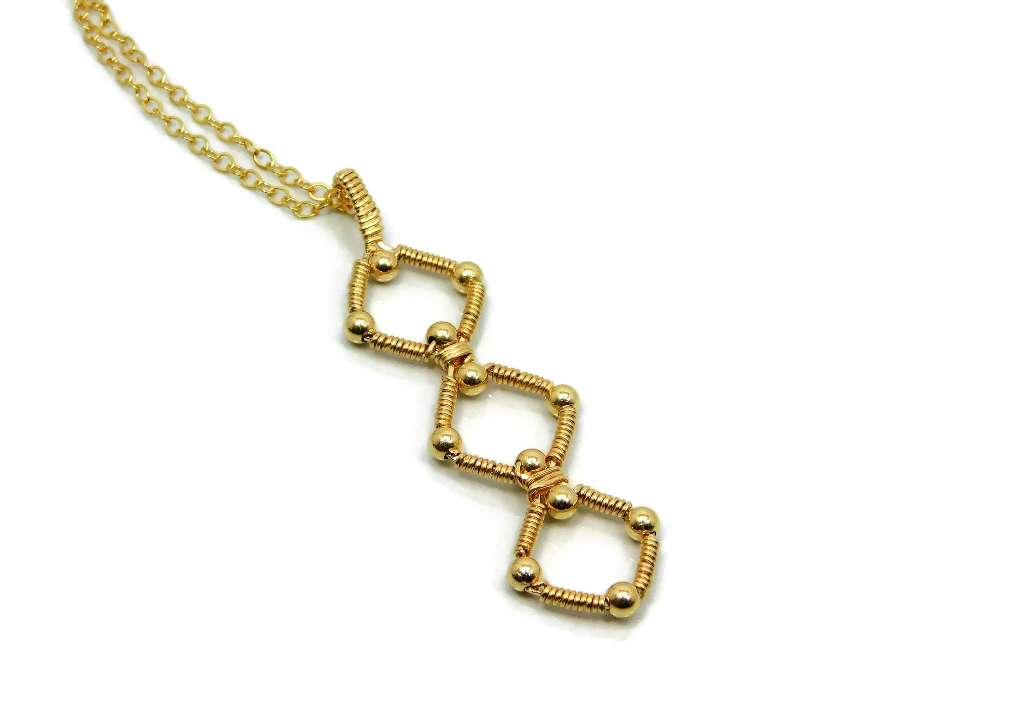 14kt Gold Fill Triple Profile Pendant