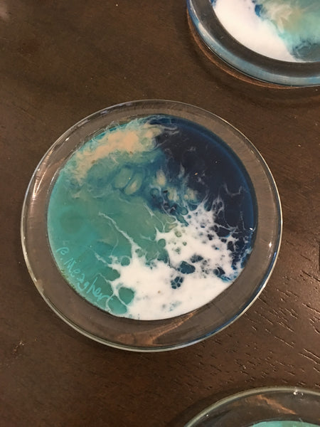 "Glass Coaster Beach Resin Paintings 4"" diameter set of 4"