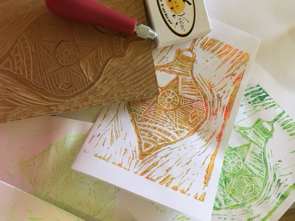 Sip & Paint with Pat Johnson and Sally Schmett Christmas Cards using Linoleum Blocks