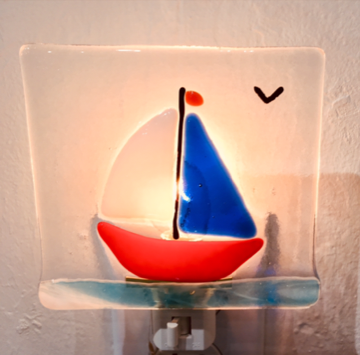 Fused glass night light class with Pat Johnson