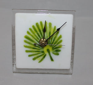Fused Glass Desk Clock with Palm Design