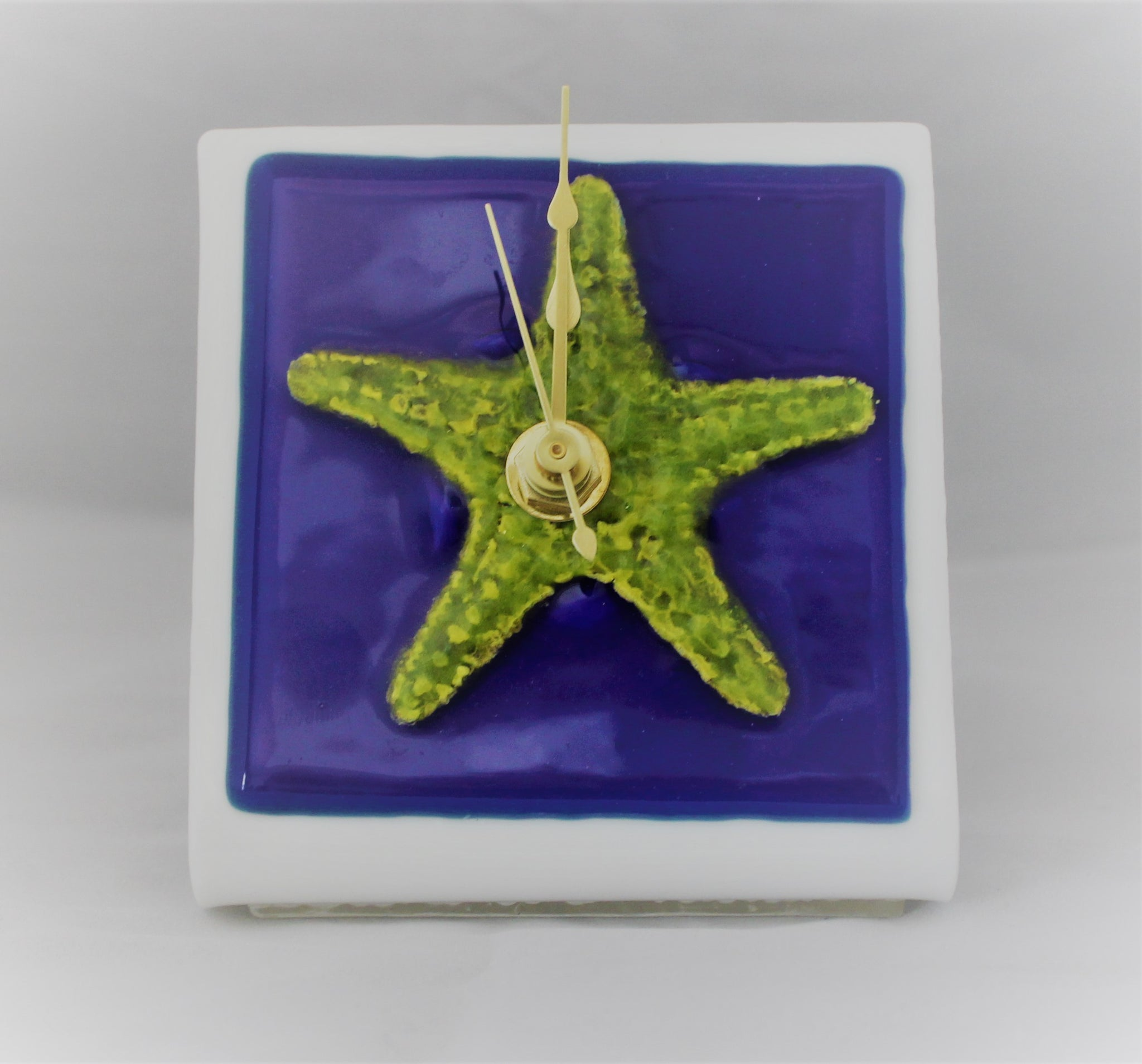 Fused Glass Desk Clock with Starfish Design