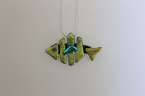 Dichroic Fused Glass Fish Pendant