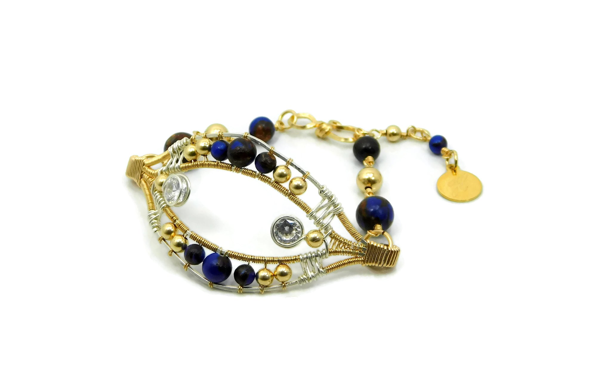 Lapis & Bronzite Joy Bracelet with Herkimer Diamonds in 14kt gold fill and sterling silver