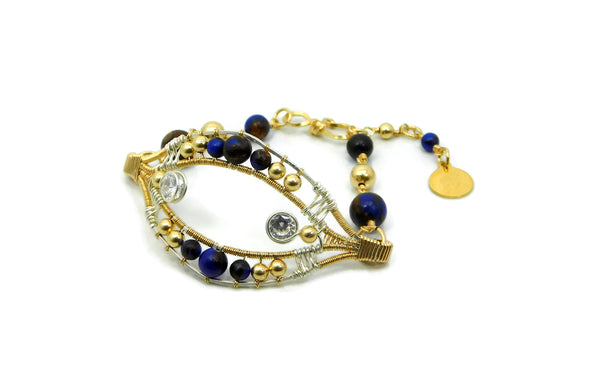 Lapis & Bronzite Joy Bracelet with Herkimer Diamonds in 14kt gold fill and sterling silver wrap bracelet wire wrap bracelet cold fusion jewelry gold and silver jewelry handmade silver jewelry sterling silver jewelry artisan jewelry handmade gemstone jewelry one of a kind jewelry unique jewelry