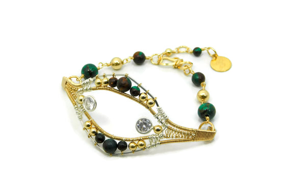 Malachite & Bronzite Joy Bracelet with Herkimer Diamonds in 14kt gold fill and sterling silver