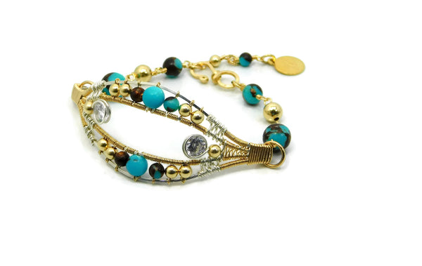 Turquoise & Bronzite Joy Bracelet with Herkimer Diamonds in 14kt gold fill and sterling silver