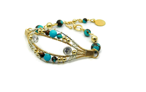 Turquoise & Bronzite Joy Bracelet with Herkimer Diamonds in 14kt gold fill and sterling silver wrap bracelet wire wrap bracelet cold fusion jewelry gold and silver jewelry handmade silver jewelry sterling silver jewelry artisan jewelry handmade gemstone jewelry one of a kind jewelry unique jewelry