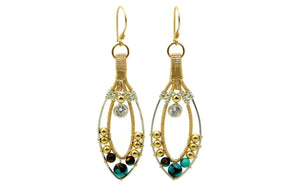 Turquoise & Bronzite Joy Earrings with Herkimer Diamonds in 14kt gold fill and sterling silver