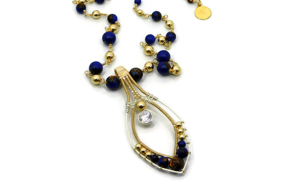 Lapis & Bronzite Joy Pendant with Herkimer Diamonds in 14kt gold fill and sterling silver