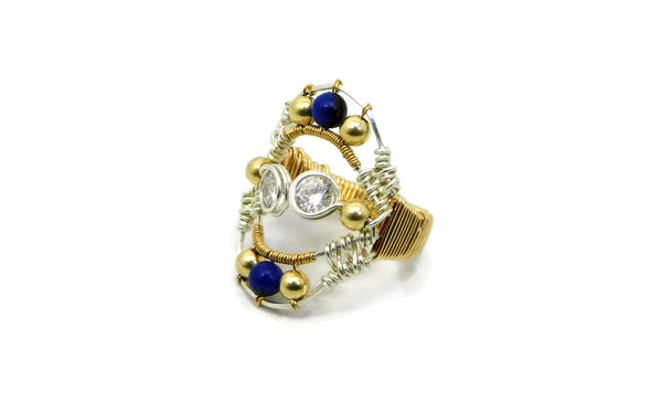 Lapis & Bronzite Joy Ring with Herkimer Diamonds in 14kt gold fill and sterling silver cold fusion jewelry gold and silver jewelry handmade silver jewelry sterling silver jewelry artisan jewelry handmade gemstone jewelry one of a kind jewelry unique jewelry