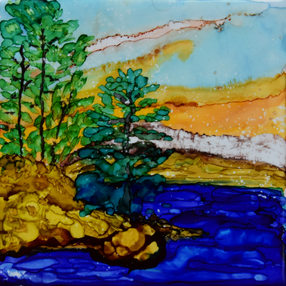 Advanced Alcohol Ink Landscapes Class with Christine Dekkers