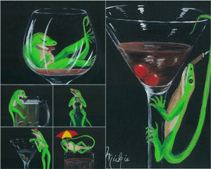 Louie the Lounge Lizard Hand Painted Coasters Mickie Timmons