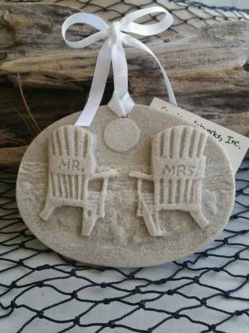 Mr. & Mrs. Beach Chairs Sand Ornament