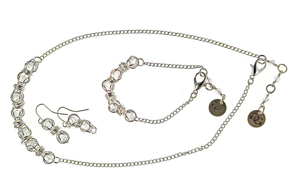 Swarovski Captured Crystal and Sterling Silver or 14kt Gold Fill Earrings, Necklace or Bracelet