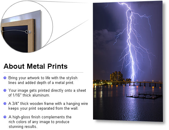 Quinn Sedam Lightning Photography Metal Print Example shooting lightning, thunderstorm photography, lightning print, lightning prints, lightning images hd, lightning gallery, amazing lightning pictures, best lightning strikes, best lightning pictures, best lightning photos, lightning storm images, show me a picture of lightning, lightning picture, lightning photos, lightning photo, striking photography, lightning, storms, thunder, Florida, Cape Coral