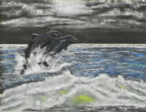 Moonlight Green Sea (Dolphins)