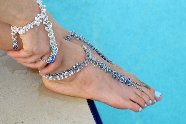 Chainmaille Mastering the Basics Hath Panja Slave Bracelet and Barefoot Sandals