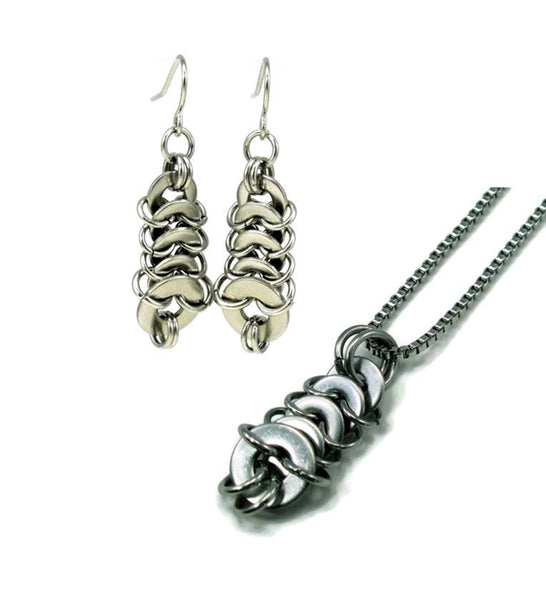 Washermaille Pillar Earrings and Necklace Set