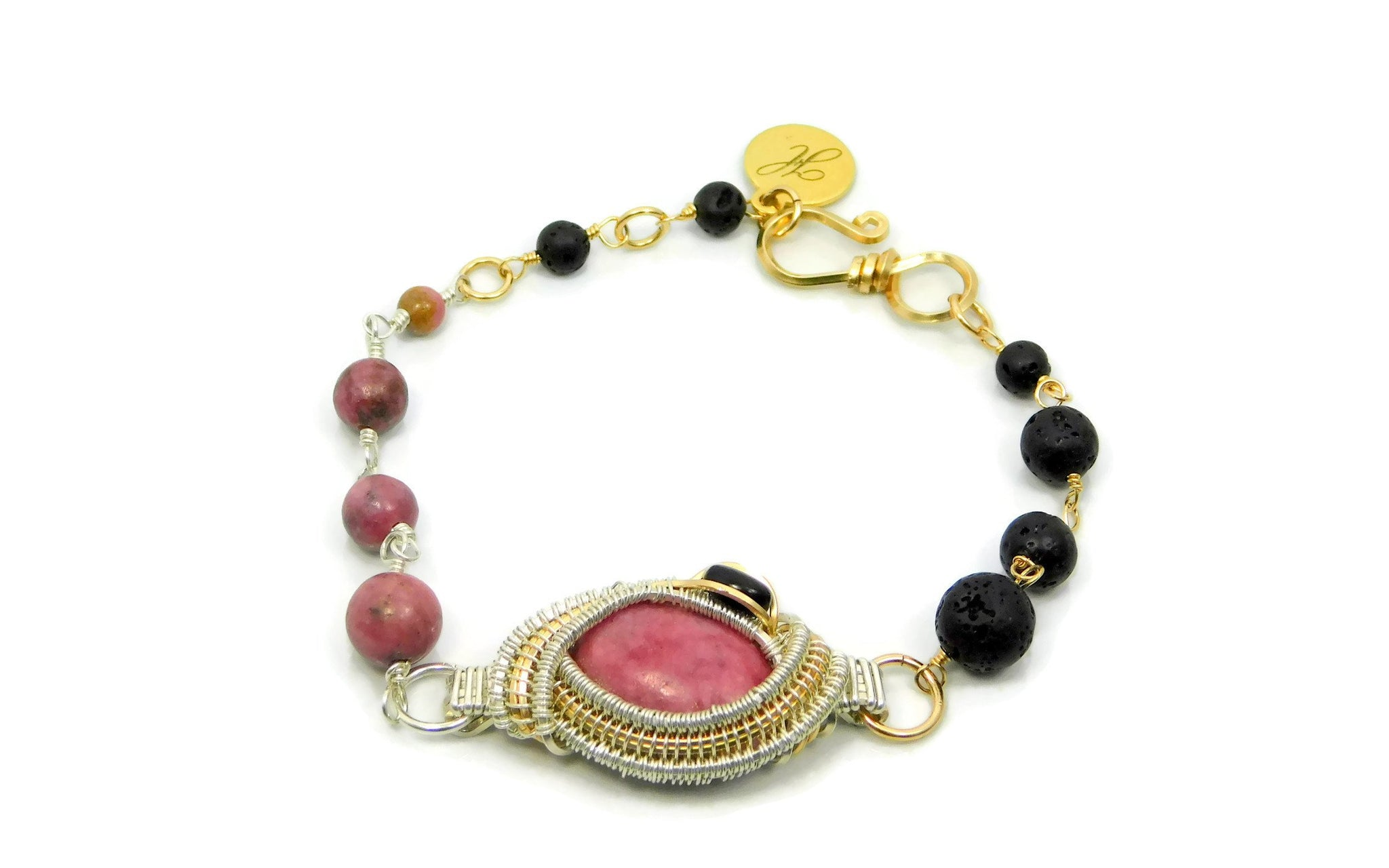 Rhodonite, Black Onyx and Lava Stone Bracelet in sterling silver and 14kt gold fill wrap bracelet wire wrap bracelet cold fusion jewelry gold and silver jewelry handmade silver jewelry sterling silver jewelry artisan jewelry handmade gemstone jewelry one of a kind jewelry unique jewelry