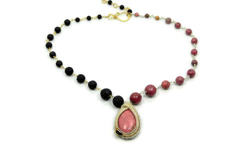 Rhodonite, Black Onyx and Lava Stone Necklace in sterling silver and 14kt gold fill