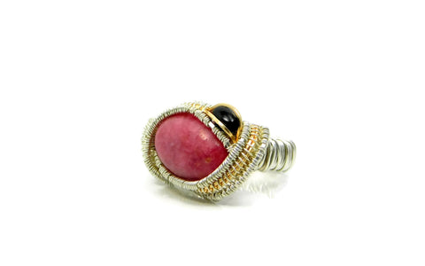 Rhodonite and Black Onyx Ring in sterling silver and 14kt gold fill