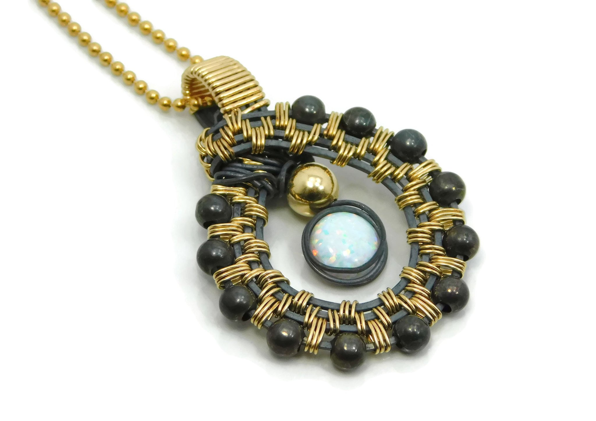 Hand wrapped cold fusion oxidized sterling silver, 14kt gold fill and opal pendant