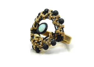 Luminous Collection - Radiate Ring with oxidized sterling silver, 14kt gold fill and opals