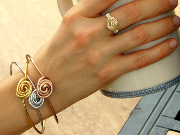 Wire Wrapping Mastering the Basics Rosette Ring and Stackable Rosette Bangle Bracelets