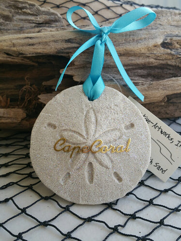SW Florida Destination Sand Dollar Sand Ornament