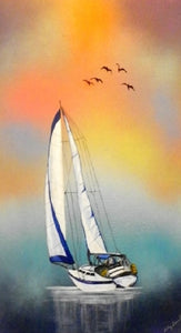 Nautical Wall Art Sailboat Painting Painting of Sailboat Beach Art