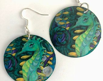 seahorses earrings paper earrings jewelry beach coastal blue green