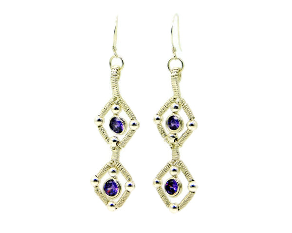 Sterling Silver Double Gem Earrings