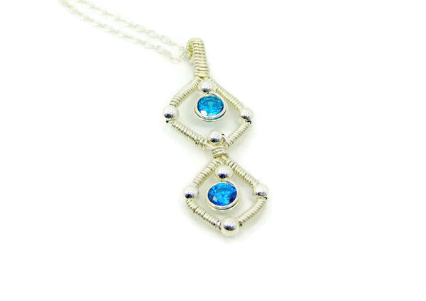 Sterling Silver Double Gem Pendant