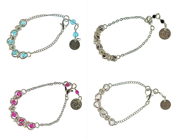 Sterling Silver Captured Swarovski Crystal Chainmaille Bracelets