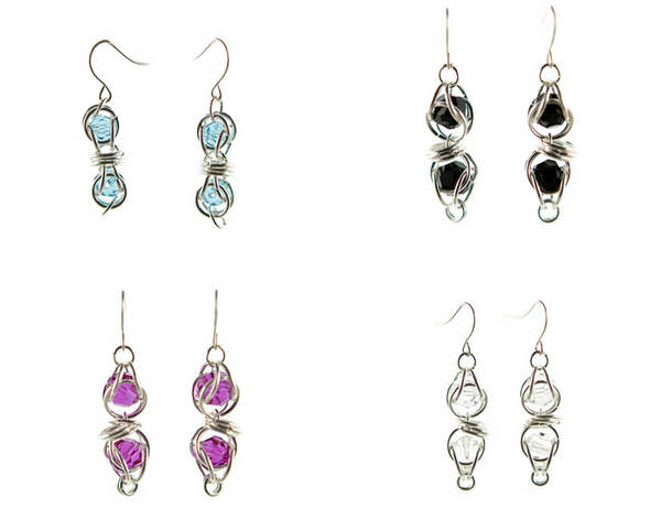 Sterling Silver Captured Swarovski Crystal Chainmaille Earrings