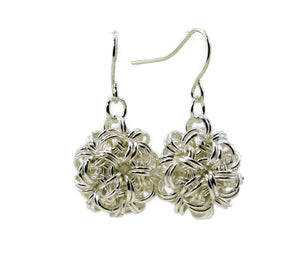 Sterling Silver Dodecahedron Chainmaille Earrings