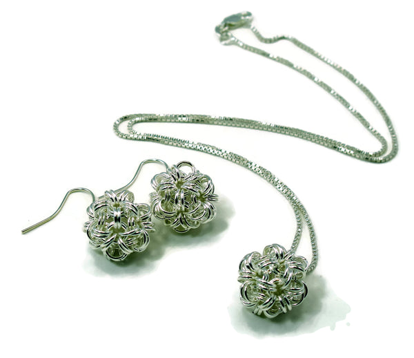 Sterling Silver Dodecahedron Chainmaille Necklace and Earrings Gift Set