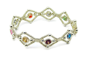 Sterling Silver Multi Gem Bangle Bracelet