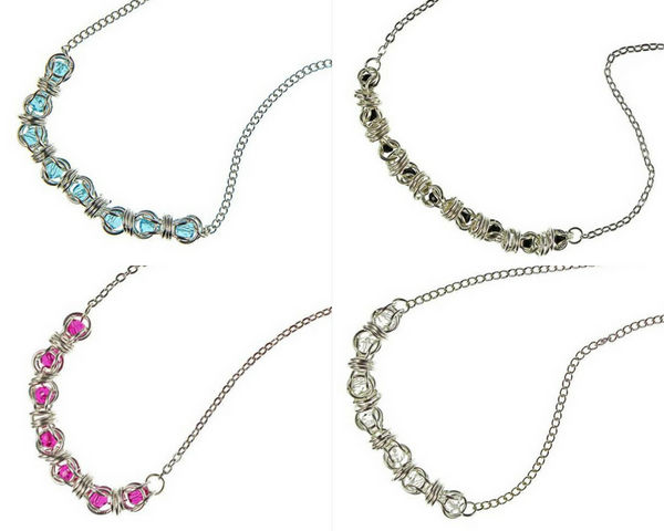 Sterling Silver Captured Swarovski Crystal Chainmaille Necklaces