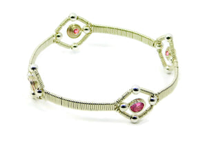 Vibrant Collection - Sterling Silver Quad Gem Bangle Bracelet