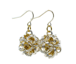 Sterling Silver & 14kt Gold Fill Dodecahedron Chainmaille Earrings
