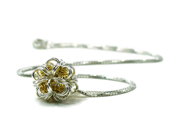 Sterling Silver & 14kt Gold Fill Dodecahedron Chainmaille Necklace